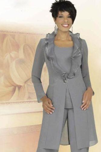 Robe de mère pantalon de costume Grandes Tailles Col Carré Chiffon - Page 1