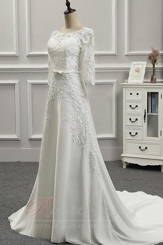 Robe de mariée Appliquer Couvert de Dentelle Longue Naturel taille - Page 2