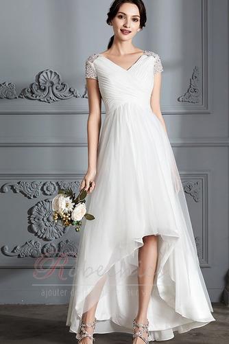 Robe de mariée Perle noble Asymétrique Plage Tulle Fourreau plissé - Page 1