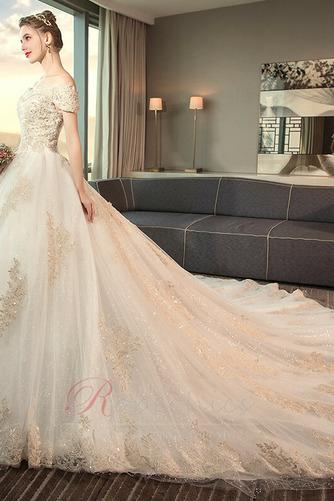 Robe de mariée aligne Lacet Naturel taille Perler Eglise Épaule Dégagée - Page 4