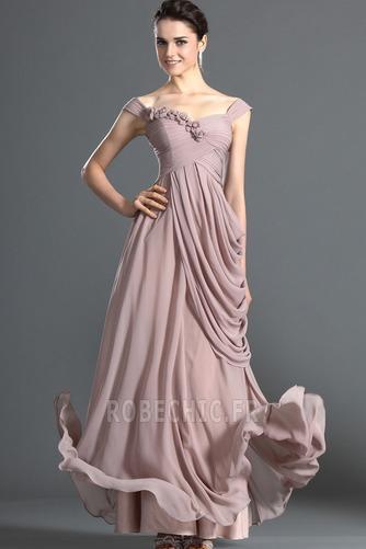 Robe de Soirée Fleurs Bébé rose Elégant Naturel taille Longueur Cheville - Page 1