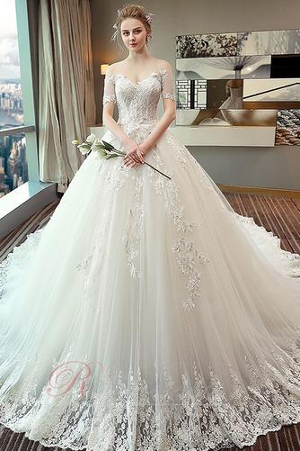 Robe de mariée Eglise Manche Aérienne Lacet Long Automne Formelle - Page 1