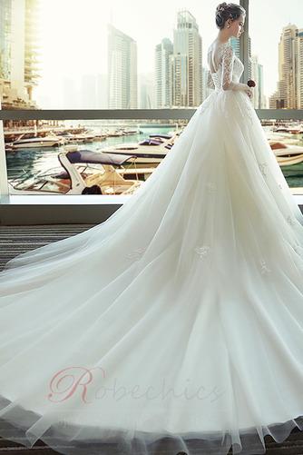 Robe de mariée Lacez vers le haut Manche de T-shirt Elégant Tulle - Page 3