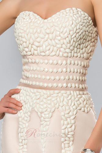 Robe de Soirée Satin Fourreau Avec Bijoux Epurée Traîne Courte - Page 4