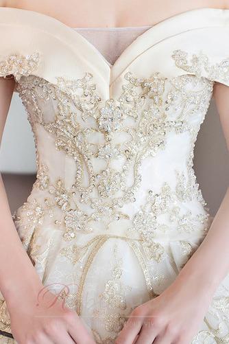 Robe de mariée Formelle A-ligne Chapelle Lacet Sablier Satin - Page 5