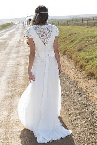 Robe de mariée Nœud à Boucles Plage A-ligne Tissu Dentelle Simple - Page 2