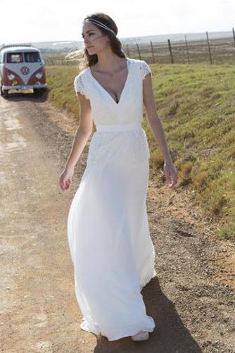 Robe de mariée Nœud à Boucles Plage A-ligne Tissu Dentelle Simple - Page 1
