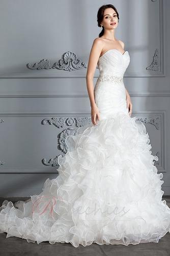 Robe de mariée Traîne Courte Lacet Col en Cœur Perle Sirène Chapelle - Page 4