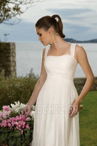 Robe de mariée Col Carré A-ligne De plein air Empire Au Drapée - Page 3