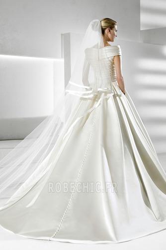 Robe de mariée Fourreau plissé Eglise Satin Avec voile Manche Courte - Page 2