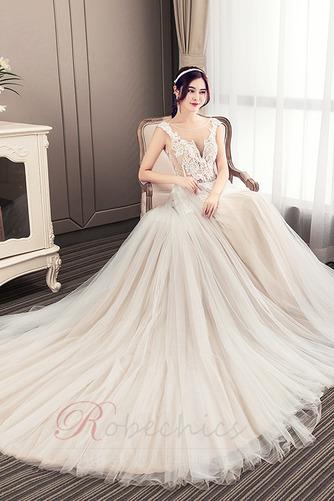 Robe de mariée Luxueux Poire Tissu Dentelle a ligne Col en V Haut Bas - Page 4