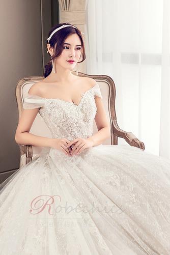 Robe de mariée Longue Perle Elégant Épaule Dégagée Chaussez A-ligne - Page 5