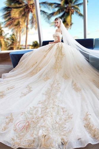 Robe de mariée Formelle A-ligne Chapelle Lacet Sablier Satin - Page 3