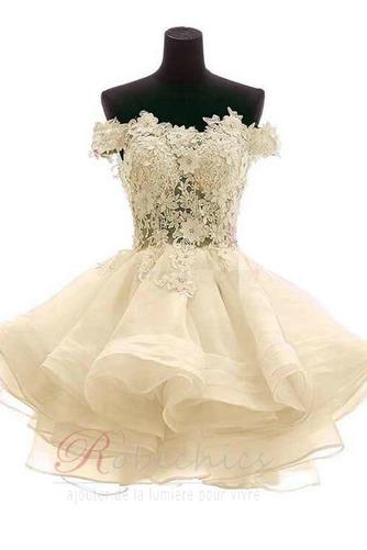 Robe de mariée Zip Bouton Épaule Dégagée Été De plein air Courte - Page 6