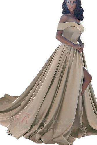 Robe de Soirée Zip Soie A-ligne Mancheron Printemps Traîne Courte - Page 8