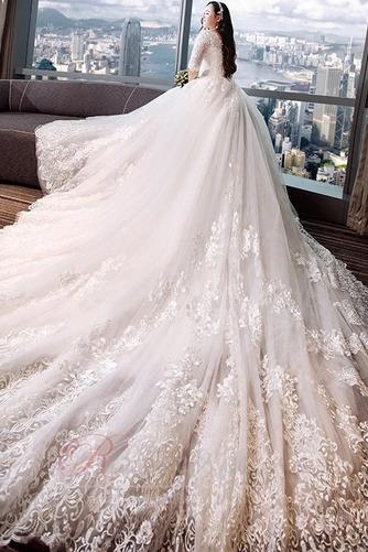 Robe de mariée Satin Plus la taille Froid Longue aligne Eglise - Page 3