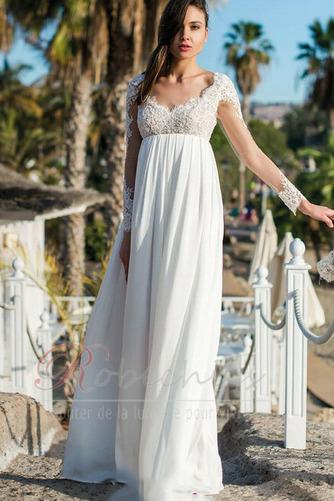 Robe de mariée Dos nu Appliques Longueur ras du Sol De plein air Manche Aérienne - Page 1