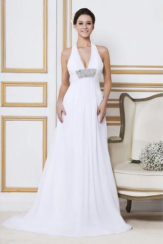 Robe de mariée Longue Col en V Elégant Automne Sans Manches Zip - Page 1
