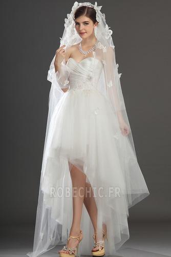 Robe de mariée Asymétrique Taffetas Zip col coeur Appliques Blanche - Page 7