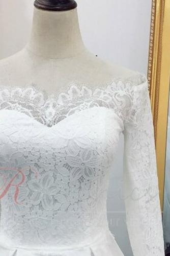 Robe de mariée Naturel taille Longue Manche Aérienne Tissu Dentelle - Page 6