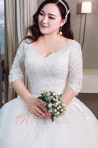 Robe de mariée Satin Plus la taille Froid Longue aligne Eglise - Page 5