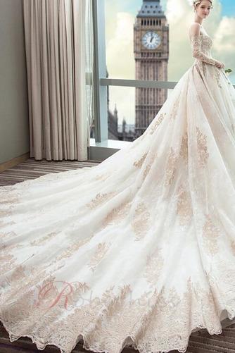 Robe de mariée Couvert de Dentelle Soie Formelle Long A-ligne - Page 5