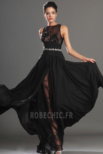 Robe de Bal Thigh-High Slit Glamour Chiffon Sans Manches Ouverture Frontale - Page 4