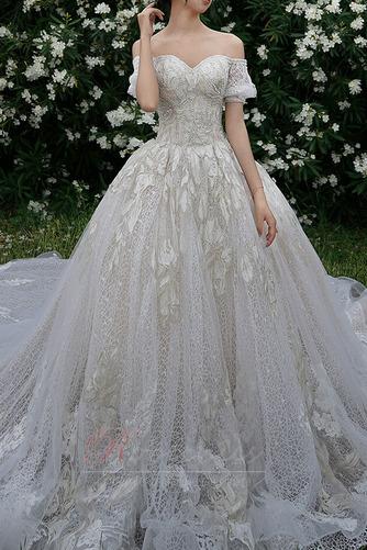 Robe de mariée Froid Lacez vers le haut Tulle Cérémonial Manche Courte - Page 3