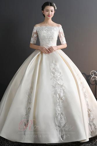 Robe de mariée Chaussez Satin Épaule Dégagée a ligne Appliques - Page 2