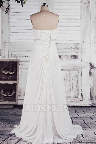 Robe de mariée taille haut Col en Cœur Cristal noble Sans Manches - Page 3