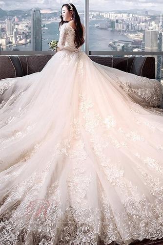 Robe de mariée Satin Plus la taille Froid Longue aligne Eglise - Page 4