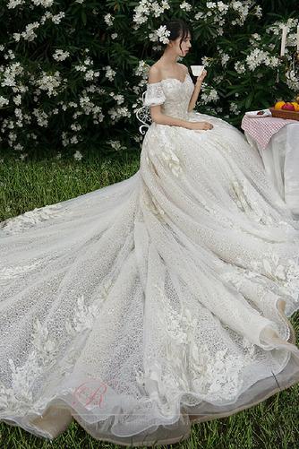 Robe de mariée Froid Lacez vers le haut Tulle Cérémonial Manche Courte - Page 1