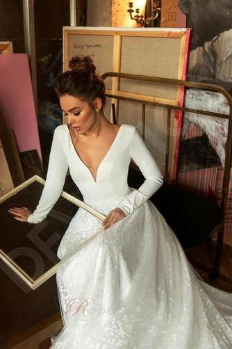 Robe de mariée Manche Longue Soie Couvert de Dentelle aligne Naturel taille - Page 5