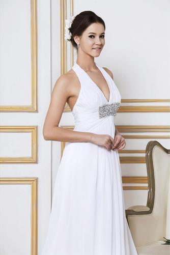 Robe de mariée Longue Col en V Elégant Automne Sans Manches Zip - Page 4