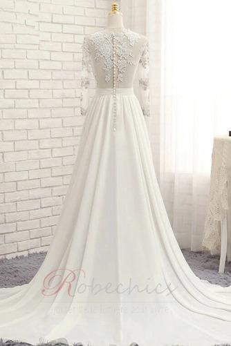 Robe de mariée Gaze Luxueux Col ras du Cou Couvert de Dentelle - Page 3