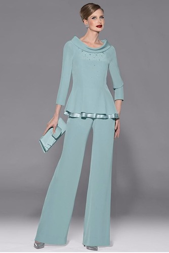 Robe de mère pantalon de costume Luxueux Gradins Mince Col Bateau - Page 1