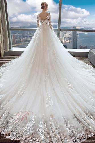 Robe de mariée A-ligne Longue Formelle Cathédrale Naturel taille - Page 2