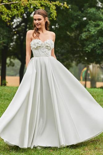 Robe de mariée Froid Satin Appliquer Sans Manches Poire De plein air - Page 1