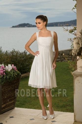 Robe de mariée Col Carré A-ligne De plein air Empire Au Drapée - Page 1