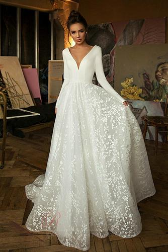 Robe de mariée Manche Longue Soie Couvert de Dentelle aligne Naturel taille - Page 1