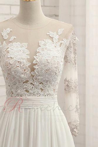 Robe de mariée Gaze Luxueux Col ras du Cou Couvert de Dentelle - Page 4