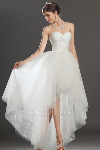 Robe de mariée Asymétrique Taffetas Zip col coeur Appliques Blanche - Page 2