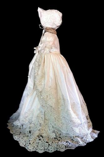 Robe de baptême Perlé Princesse Orné de Nœud à Boucle Manche Courte - Page 2