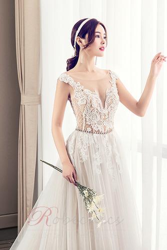 Robe de mariée Luxueux Poire Tissu Dentelle a ligne Col en V Haut Bas - Page 5