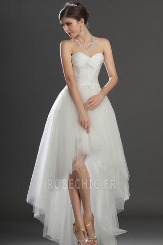 Robe de mariée Asymétrique Taffetas Zip col coeur Appliques Blanche - Page 1