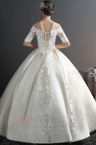 Robe de mariée Chaussez Satin Épaule Dégagée a ligne Appliques - Page 3