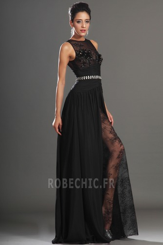 Robe de Bal Thigh-High Slit Glamour Chiffon Sans Manches Ouverture Frontale - Page 5