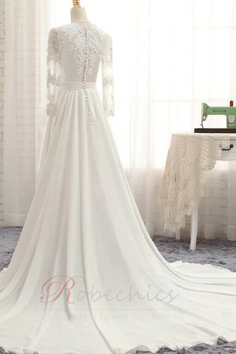 Robe de mariée Gaze Luxueux Col ras du Cou Couvert de Dentelle - Page 2