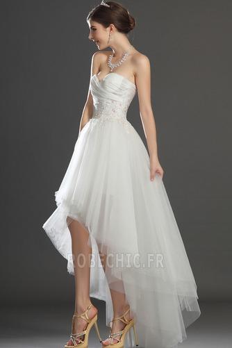 Robe de mariée Asymétrique Taffetas Zip col coeur Appliques Blanche - Page 5