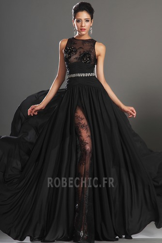 Robe de Bal Thigh-High Slit Glamour Chiffon Sans Manches Ouverture Frontale - Page 2